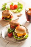 Homemade Hamburger on Wooden Background Royalty Free Stock Photography