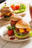 Homemade Hamburger on Wooden Background Royalty Free Stock Photo