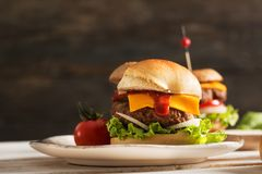 Homemade Hamburger on Wooden Background Stock Images