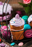 Delicious homemade holiday Easter cakes and colored eggs Stock Images