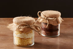 Delicious homemade jar cakes Royalty Free Stock Images