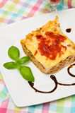 Homemade lasagna on white plate and colorful tablecloth Stock Image
