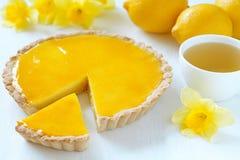 Delicious homemade lemon tart pie with green tea Stock Photo