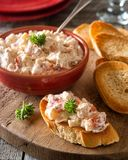 Lobster Salad with Toasted Baguette. Delicious homemade lobster salad on a toasted french bread baguette royalty free stock photos
