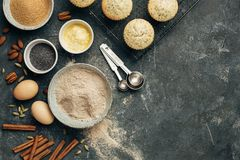 Delicious homemade muffins with poppy and baking ingredients. Royalty Free Stock Photo