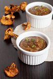 Delicious homemade mushroom sauce on wooden table Royalty Free Stock Photography