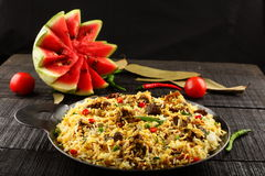 Delicious homemade mutton or lamb dum biriyani Royalty Free Stock Images