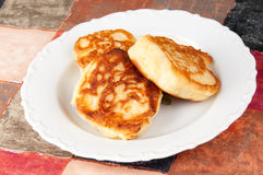 Delicious homemade pancakes. Hot homemade pancakes on a plate Royalty Free Stock Photography