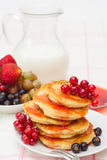Delicious homemade pancakes with jam Royalty Free Stock Images
