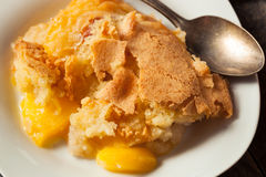 Delicious Homemade Peach Cobbler. With a Pastry Crust royalty free stock photography