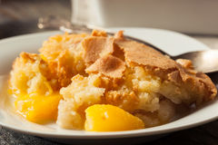 Delicious Homemade Peach Cobbler. With a Pastry Crust stock photo