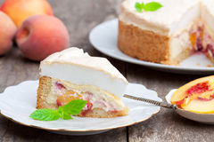Delicious homemade peach pie Stock Photo