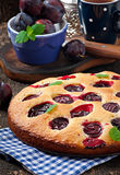 Delicious homemade pie with plums Stock Photography