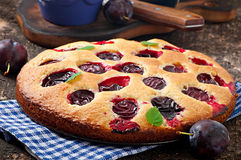 Delicious homemade pie with plums Royalty Free Stock Images