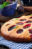 Delicious homemade pie with plums Royalty Free Stock Photos