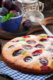 Delicious homemade pie with plums Stock Images