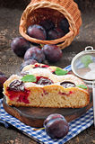 Delicious homemade pie with plums Stock Photos