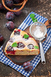 Delicious homemade pie with plums Royalty Free Stock Photography
