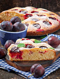 Delicious homemade pie with plums Royalty Free Stock Image