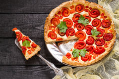 Delicious homemade pie with sweet pepper and cheese royalty free stock image