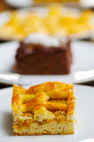 Delicious homemade pineapple cake over a white plate Royalty Free Stock Photos