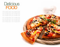 Delicious homemade pizza with ham Royalty Free Stock Photos