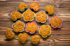 Delicious homemade pumpkin millet cupcakes Royalty Free Stock Photos