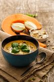 Delicious homemade pumpkin soup with basil leaves on rustic wood Royalty Free Stock Images