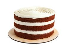 Delicious homemade red velvet cake. On white background royalty free stock images