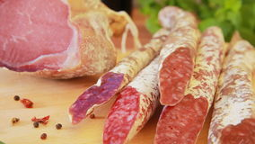 Delicious homemade salami jerky sausages stock footage