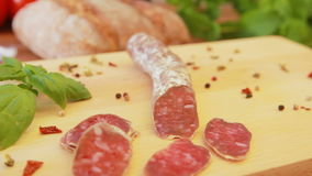 Delicious homemade salami jerky sausages on a wooden board stock footage