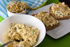 Homemafe sandwiches with eggs salad and sprouts Stock Photos