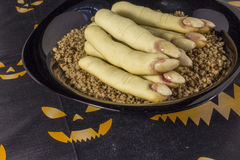 Delicious homemade shortbread Witches ` fingers for Halloween. Royalty Free Stock Photos