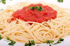 Delicious homemade spaghetti with tomato sauce Stock Photos