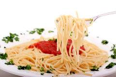 Delicious homemade spaghetti with tomato sauce Royalty Free Stock Photo