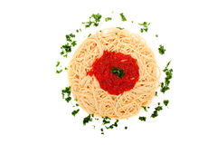 Delicious homemade spaghetti with tomatoe sauce Stock Images