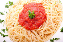 Delicious homemade spaghetti with tomatoe sauce Royalty Free Stock Photography