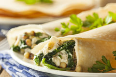 Delicious Homemade Spinach and Feta Savory French Crepes Royalty Free Stock Photography