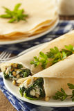 Delicious Homemade Spinach and Feta Savory French Crepes Royalty Free Stock Images