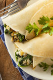 Delicious Homemade Spinach and Feta Savory French Crepes Stock Photos