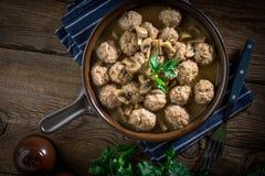 Delicious homemade swedish meatballs with mushroom cream sauce. Stock Photography