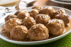 Swedish Meatballs. Delicious homemade swedish meatballs with mushroom cream sauce royalty free stock photo