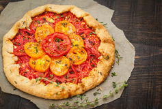 Delicious homemade tomatoes galette stock images