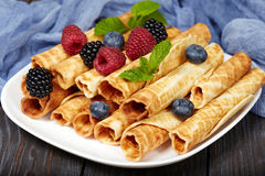 Waffle rolls with berries Stock Photos
