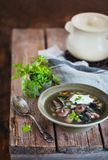 Delicious homemade wild mushrooms soup on rustic wooden backgrou royalty free stock photos