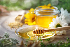 Delicious honey and fresh pollen of flowers on a wooden table. Selective focus. Stock Image