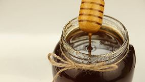 Delicious honey in jar on table stock video