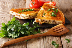 Delicious hot burek with minced meat close-up. horizontal. Delicious hot burek with minced meat close-up on the table. horizontal Stock Images