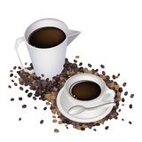 A Delicious Hot Coffee with Measure Cup Stock Photo