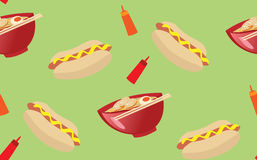 Delicious hot dog and ramen noodle seamless patter. Seamless pattern illustration of everyday food ramen and hot dog Stock Image